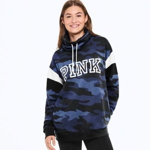 VS Pink Sherpa Lined Campus Cowl Neck
